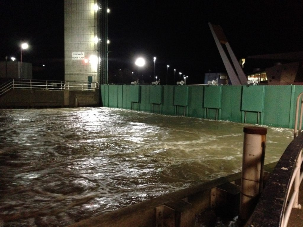 Image shows the 2013 Tidal Surge at the River Hull Barrier taken by Tom Coulthard