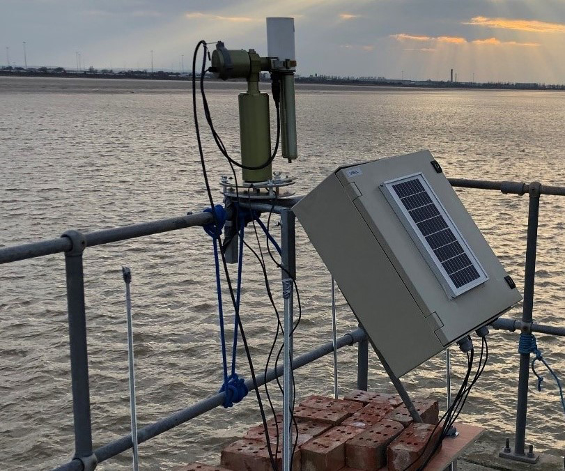 SeaPRISM photometer installed at the Grimsby River Terminal on the Humber Estuary