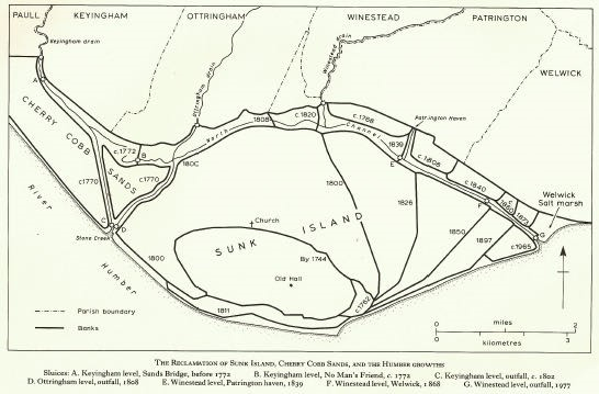 A line-drawn map showing land reclamation over time around Sunk Island in the Humber Estuary