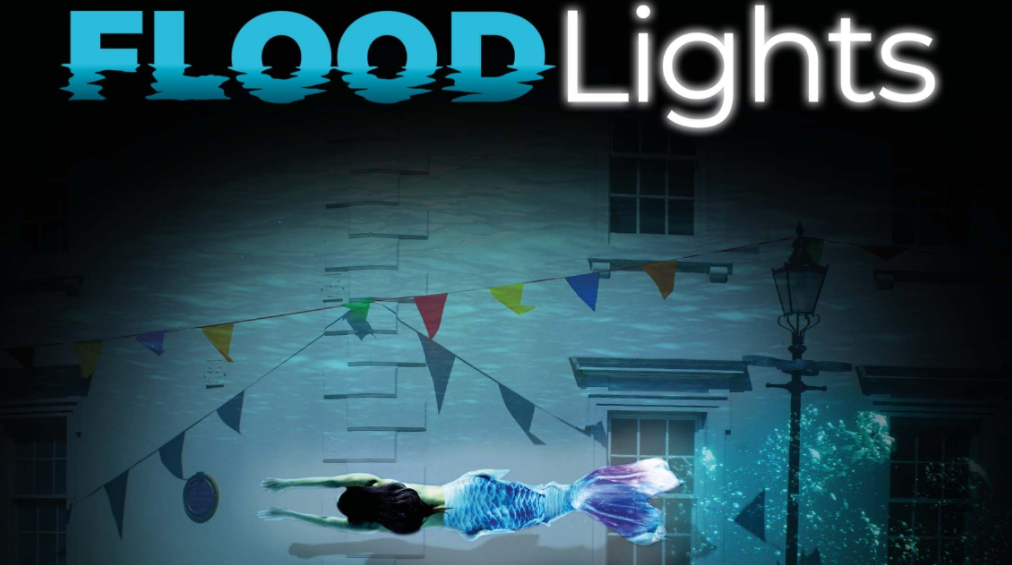 Graphic to illustrate the FloodLights live art installation featuring a mermaid swimming through a submerged street